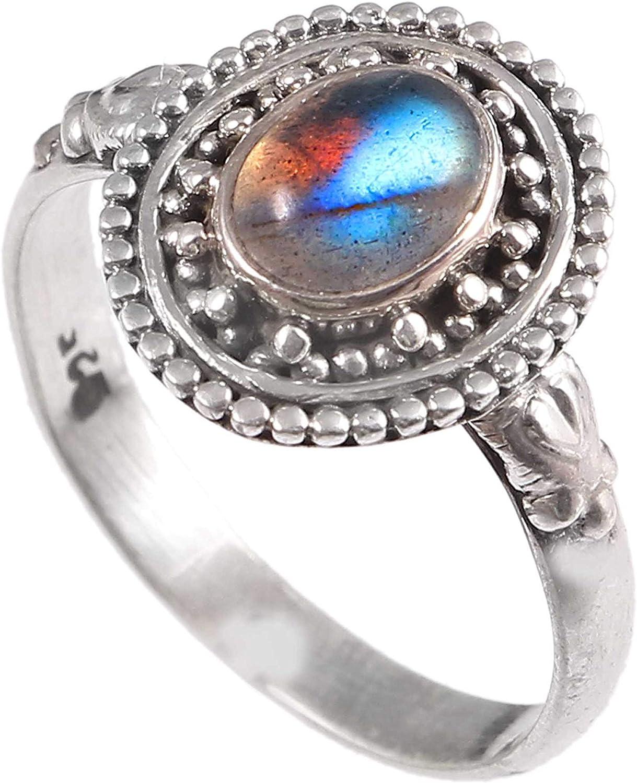 Anillo de plata de ley 925 para mujer|anillo de piedra preciosa natural Labradorita|Banda de boda para las mujeres|Piedras preciosas anillo, anillo de compromiso|Tamaño del anillo 18.5 (R-75)