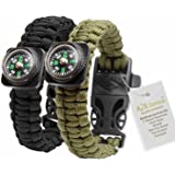 1# BEST Value For Money A2S Survival Kit Paracord Bracelet Set of 2 with Compass Flint Fire Starter, Stainless Fire Scraper, Emergency Whistle