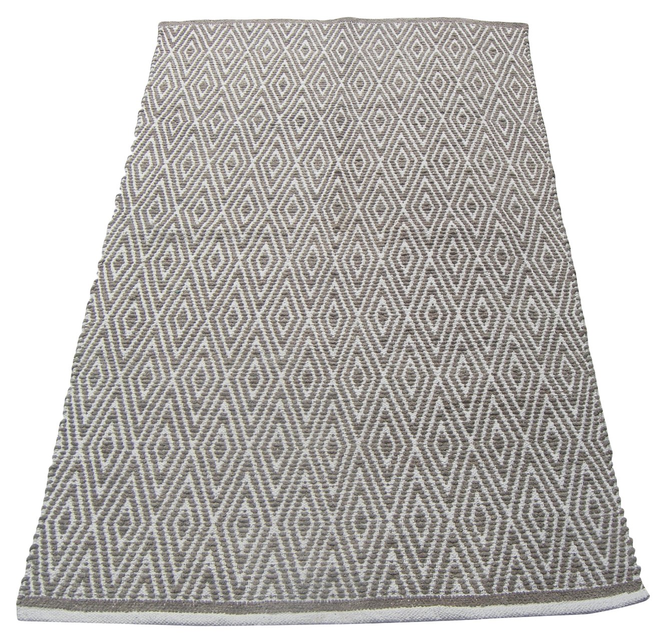 Chardin home 100 Cotton Diamond Area Rug Fully Reversible, Size – 3 x5 , Machine Washable, Grey White