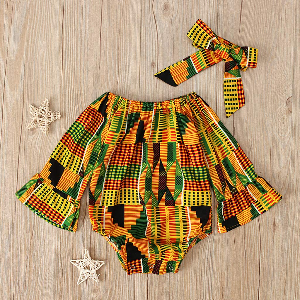 Toddler Baby Girls African Print Long Sleeve Romper Hair Band Bodysuits Clothes