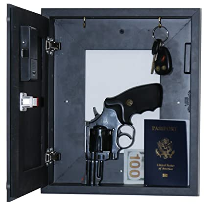 Concealable and Lockable Quick Access Wall Safe, Hidden Gun Safe
