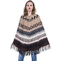 Gamboa - 100% Alpaca - Long Rustic Poncho for Women - Brown Tones