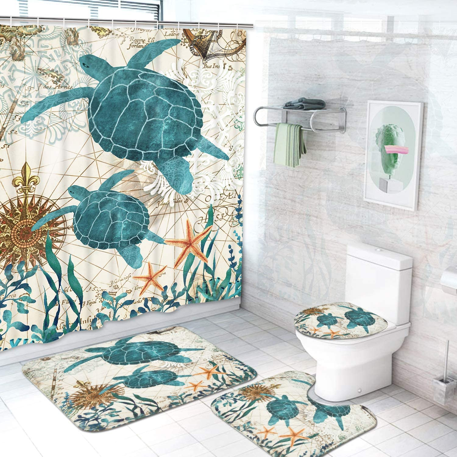 Ikfashoni Sea Turtle Shower Curtain with Non-Slip Rugs Toilet Lid Cover and Bath Mat Ocean Creature Landscape Bathroom Curtain with 12 Hooks Durable Watereproof Fabric Shower Curtain Sets
