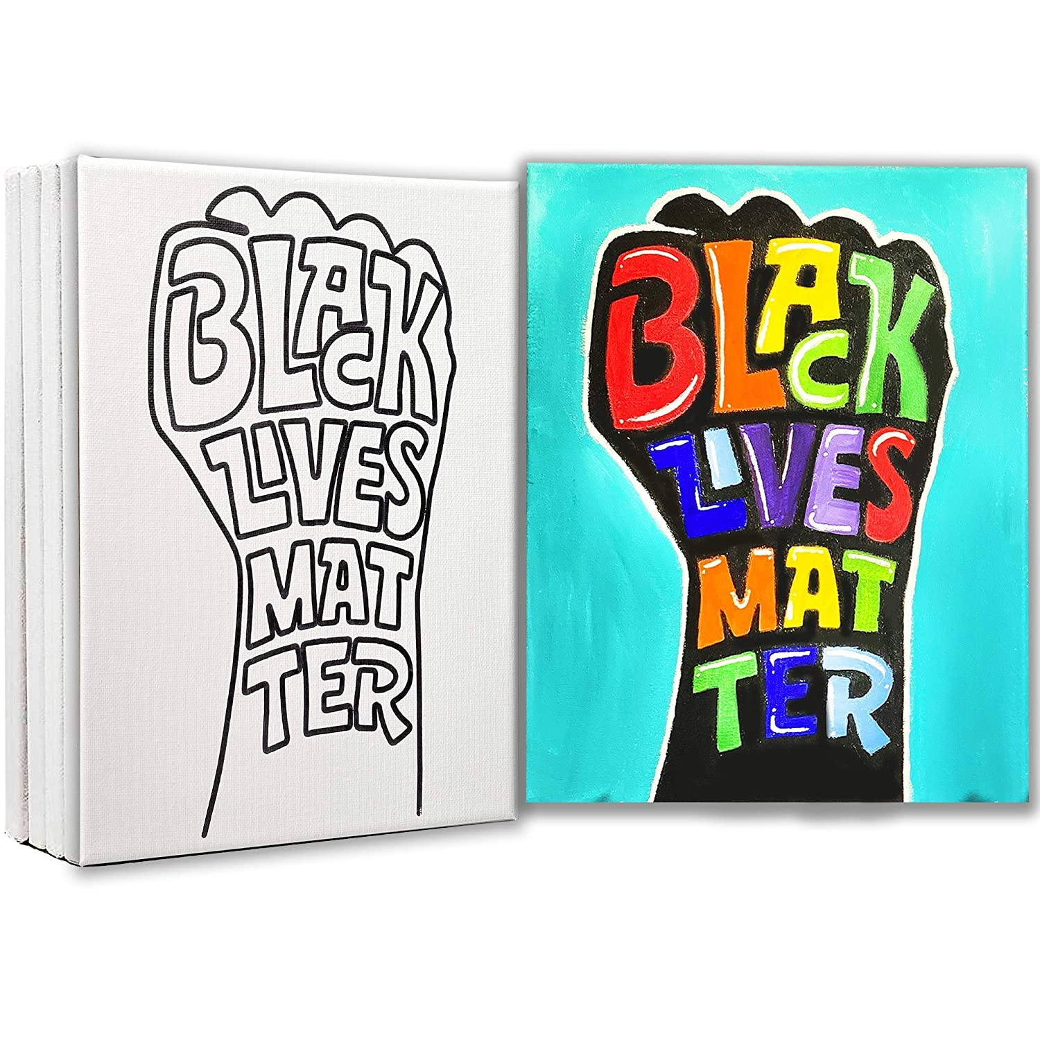 Turn Key Paint Party Kit Art in A Box Pre-Drawn Canvas Father/'s Day Black King Art Party Kit