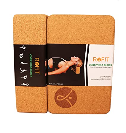 ROFIT Cork Yoga Block   Improve Balance   Deepen Stretches   Eco-Friendly Cork Yoga Brick