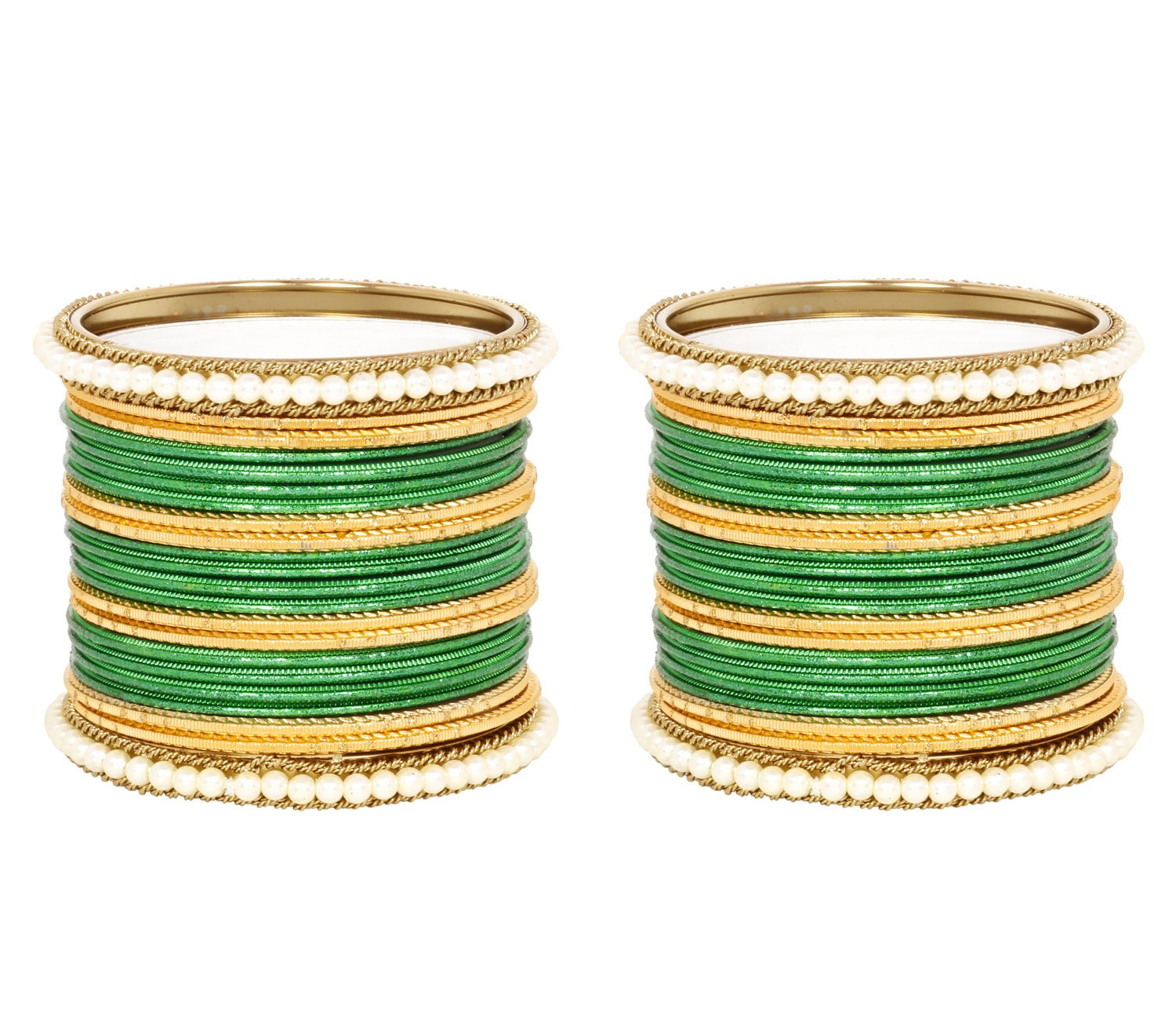 Ratna Attractive Green color Punjabi bangle set women wedding wear Special Ethnic bangles jewellery (2.4)