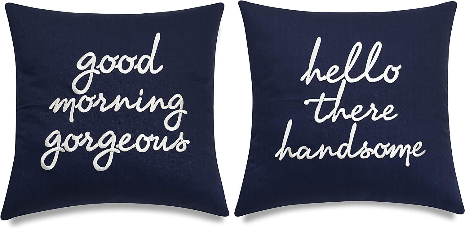 EURASIA DECOR Set of 2 Pcs Hello Handsome Good Morning Gorgeous Embroidered Square Accent Throw Pillow Cover - Gift for Wedding, Couple, Anniversary, Bedroom Decor - 18x18 Inches, Navy Blue