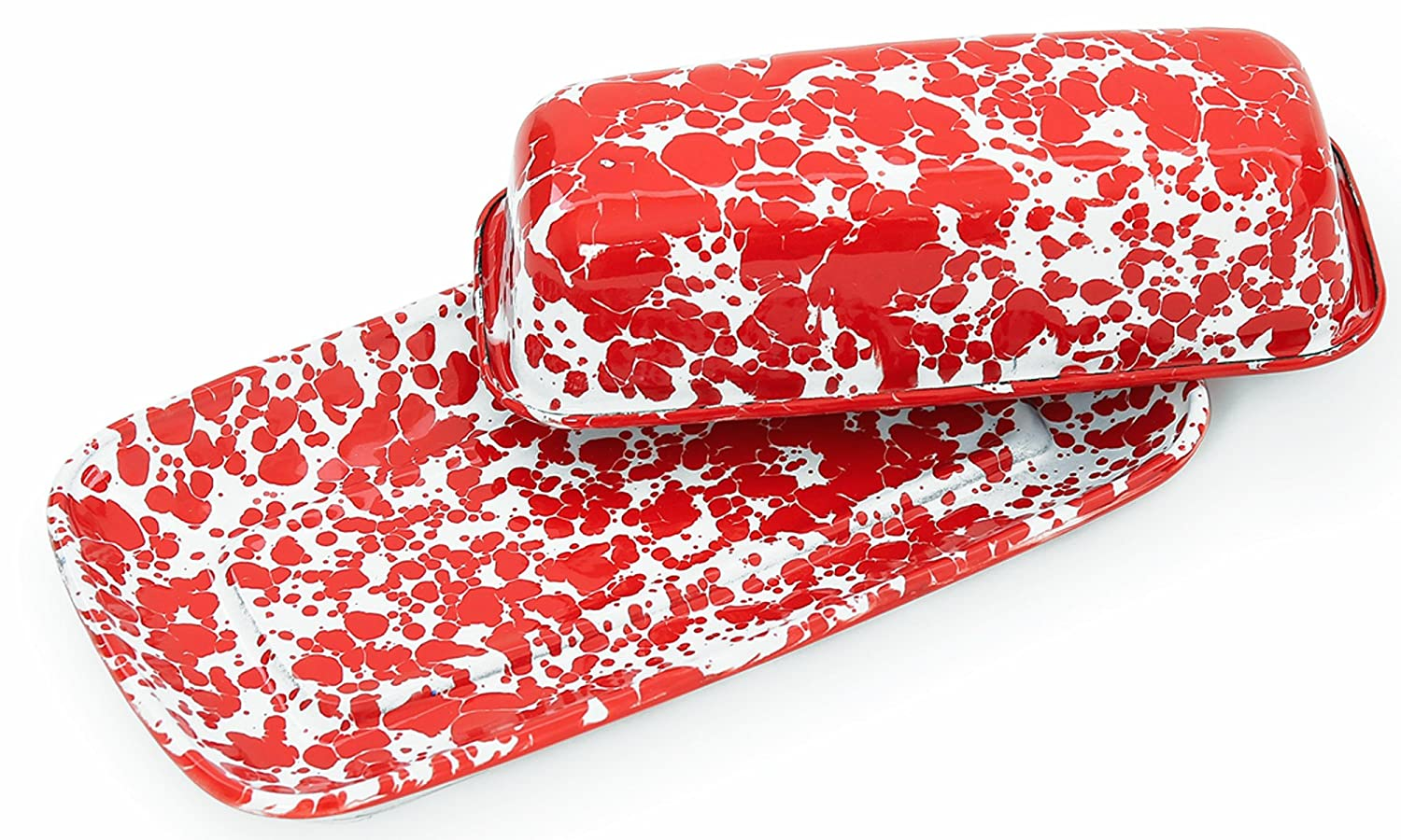 Enamelware Covered Butter Dish - Red Marble