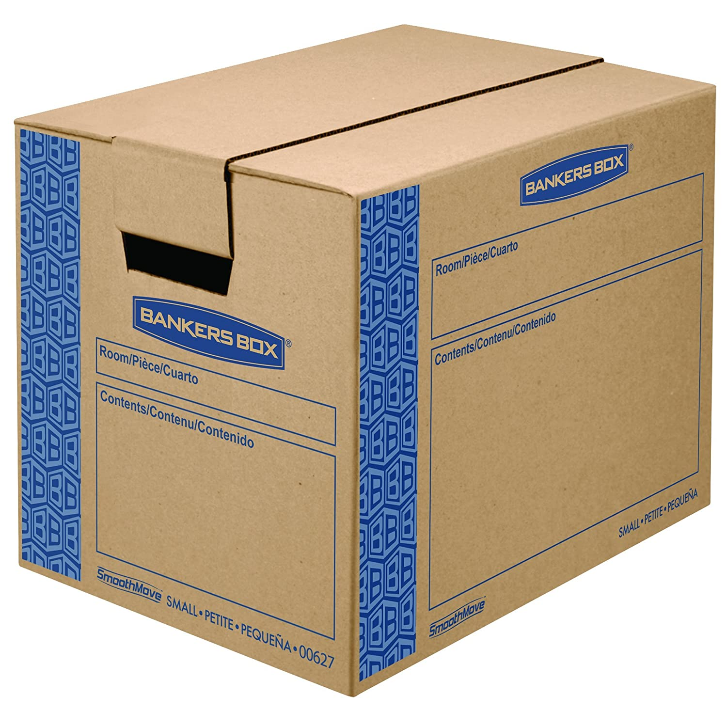 Bankers Box SmoothMove Prime Moving Boxes, Tape-Free, FastFold Easy Assembly, Handles, Reusable, Small, 16 x 12 x 12 Inches, 10 Pack (0062701) Fellowes Office Supplies