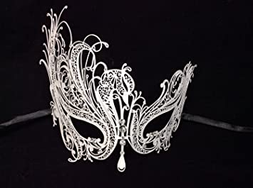 Luxury White Swan Masquerade Mask Venetian Design Masks Silver Colored  Perfect for Mardi Gras Party Halloween
