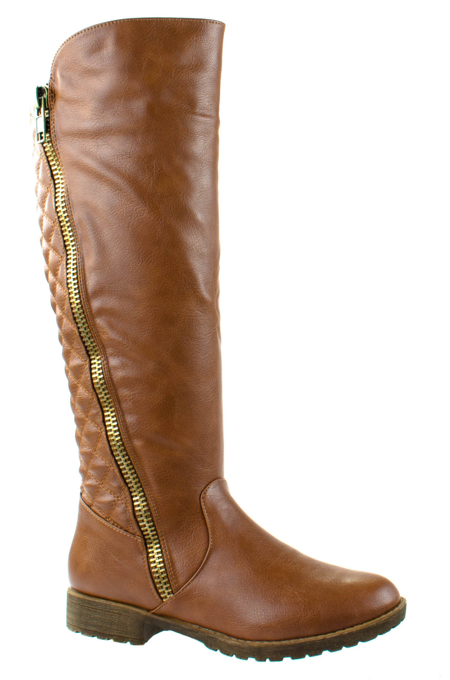 Bamboo Shoes Women's Monterey-07 Chestnut Quilted Pattern Knee High Boots 9 D(M) US