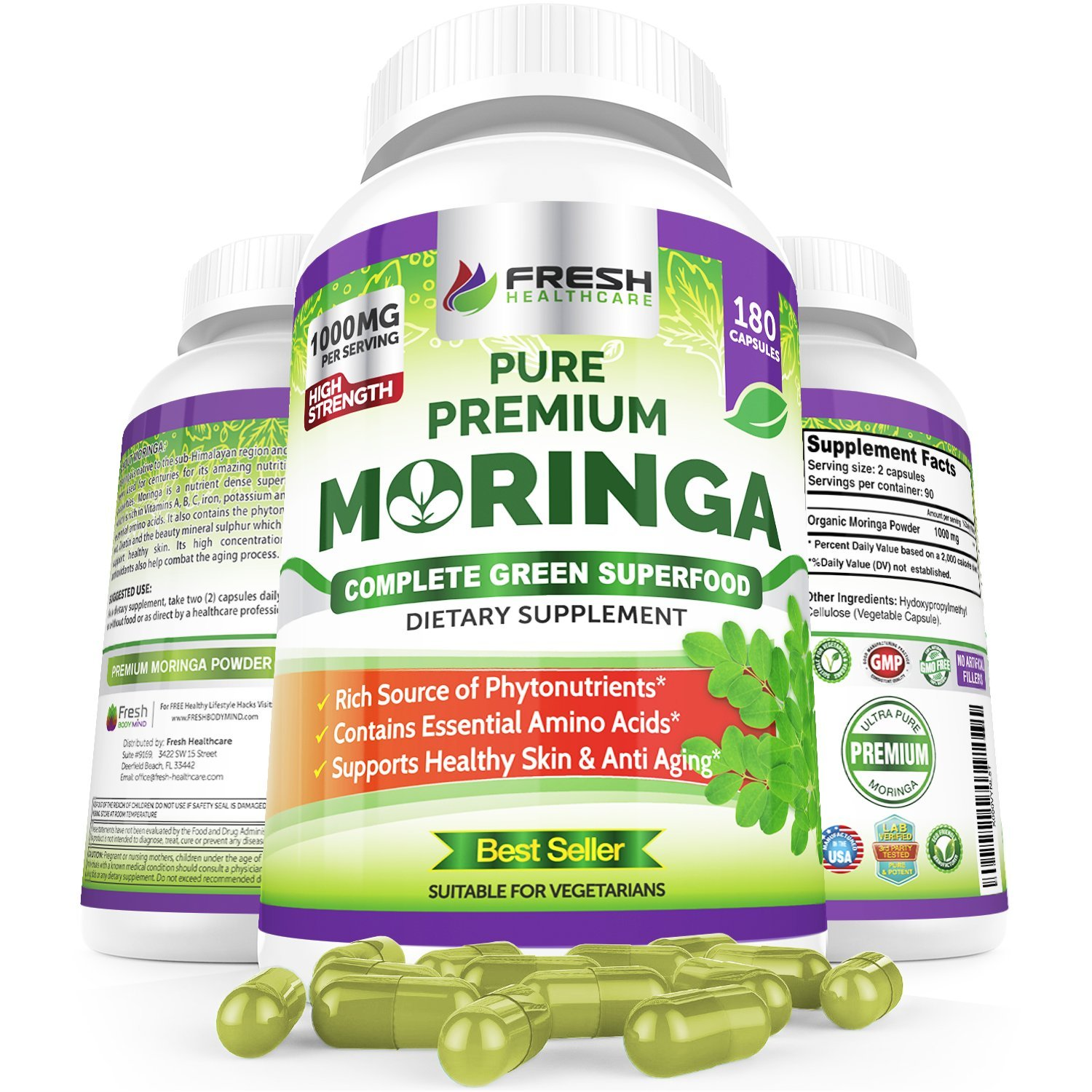 Organic Moringa 180 Capsules - 100% Pure Leaf Powder - Max 1000mg Per Serving - Complete Green Superfood Supplement - Full 3 Month Supply - Miracle Tree Organic Moringa Oleifera Powder Vegan Caps by FRESH HEALTHCARE