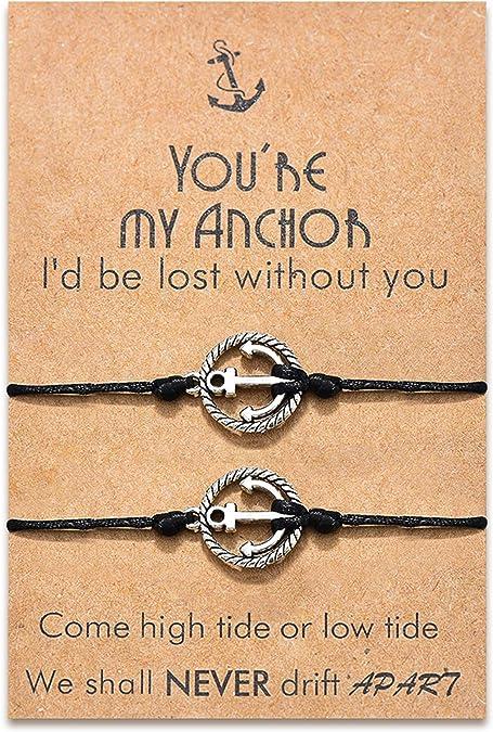 Black//Silver Hooked-On Unisex Adjustable Nautical Fashion Anchor Bracelets