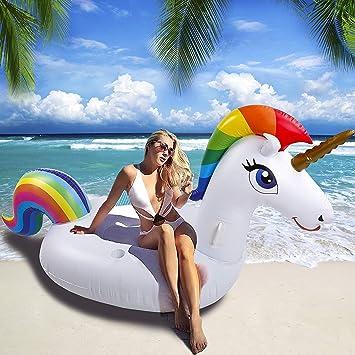NEWYANG Unicornio Inflable Colchoneta - Juguete Hinchable Unicornio Piscina,PVC Adecuado Para Piscinas de Verano y Playa para Adultos y Niños: Amazon.es: Juguetes y juegos