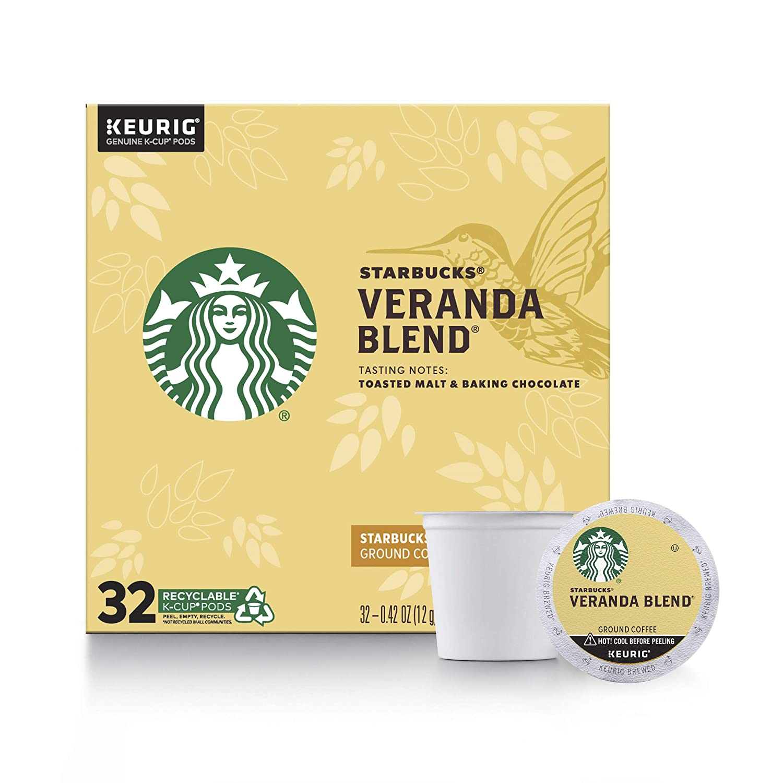 Starbucks Blonde Roast K-Cup Coffee Pods — Veranda Blend for Keurig Brewers — 1 box (32 pods total)