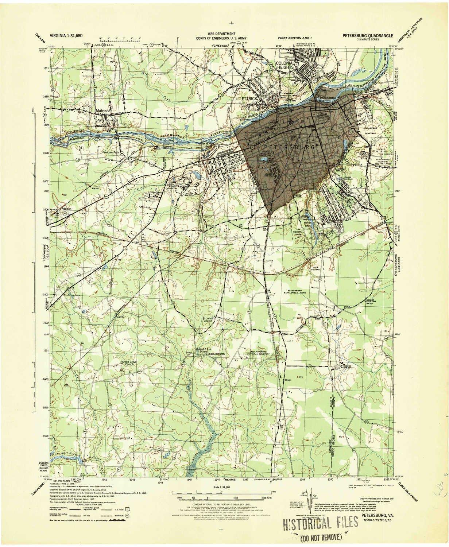 Amazon Com Yellowmaps Petersburg Va Topo Map 1 31680 Scale 7 5 X