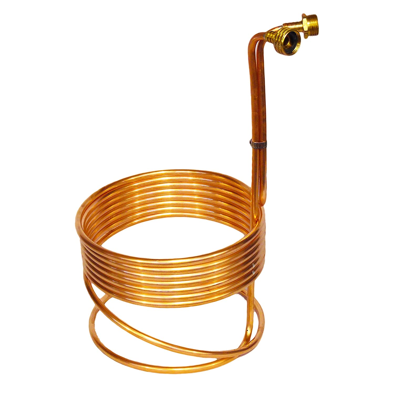 "Compact 8"" Copper Immersion Wort Chiller w/Garden Hose Fittings"
