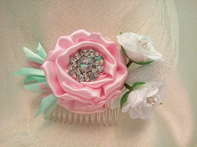 Amazon bridal hair comb pink white mint wedding hair flowers bridal hair comb pink white mint wedding hair flowers roses mightylinksfo