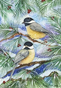 Toland Home Garden Snowy Birds 28 x 40 Inch Decorative Winter Bird Pine Branch House Flag, 109404