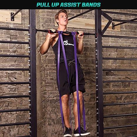 Fisioterapia y Entrenamiento en Hogar Loop Band Bandas de Resistencia para Entrenamiento de Resistencia Odoland Bandas El/ásticas Set 4 Pull Up Bande 4 Niveles de Resistencia