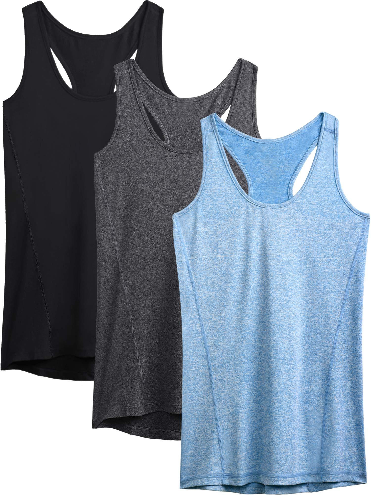 Neleus Workout Running Racerback Long Tank Top for Women,8006,3 Pack,Black,Grey,Blue,US S,EU M by Neleus