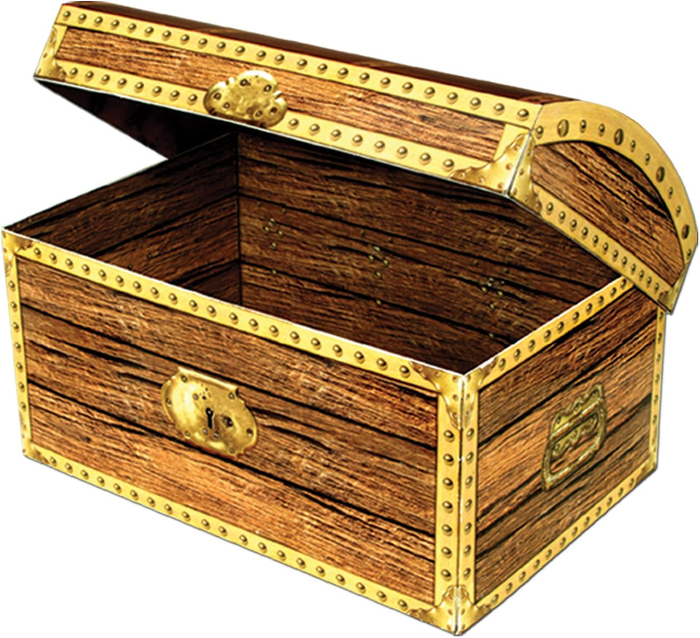 Beistle Novelty Three Dimensional Treasure Chest Treat Box Pirate Theme Party Favors, 8
