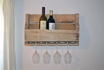 Amazoncom Turnbull Farmstm Upcycled Wooden Wine Rack With Glass