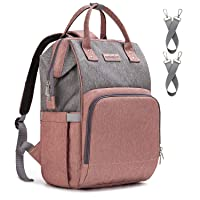 Diaper Bag Backpack Nappy Bag Upsimples Baby Bags for Mom and Dad Maternity Diaper Bag with USB Charging Port Stroller Straps Thermal Pockets,Water Resistant, Pink Gray