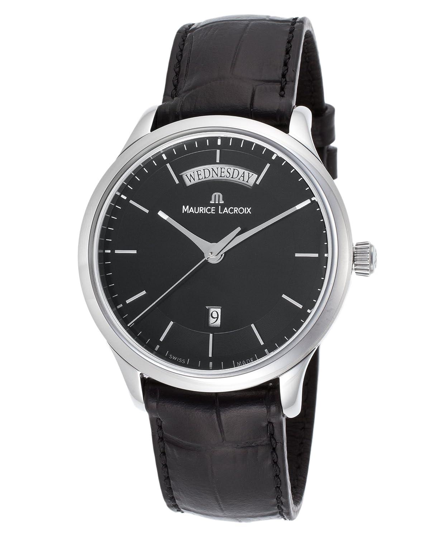 Maurice Lacroix lc1227-ss001 – 331 Men 's Les Classiquesブラック本革ブラックダイヤル時計 B00P10A6XU