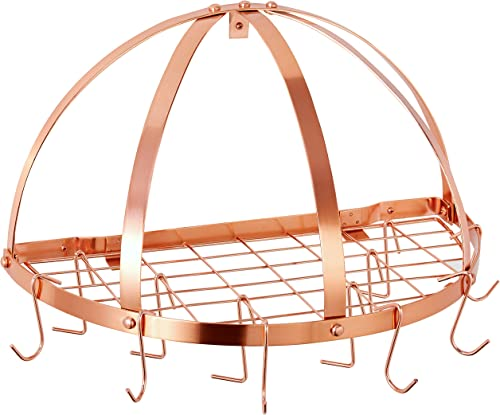 Old Dutch Half-Round Pot Rack with Grid, Copper