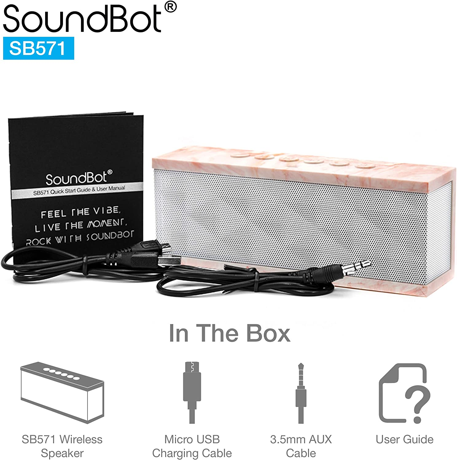 SoundBot SB571 Bluetooth Wireless Speaker for 12 hrs Music Streaming /& Hands-Free Calling w// 6W Built-in Mic 6W 40mm Driver Speakerphone 3.5mm Audio Port Rechargeable Battery for Indoor /& Outdoor Use