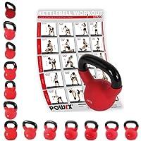 POWRX Kettlebell Kugelhantel mit Hochwertiger Neoprenhülle inkl. Workout | 4-30 kg | bodenschonend | Schwunghantel Rundgewicht Neopren