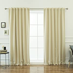 Best Home Fashion Closeout Basic Thermal Insulated Blackout Curtains - Back Tab/Rod Pocket - Beige - 52