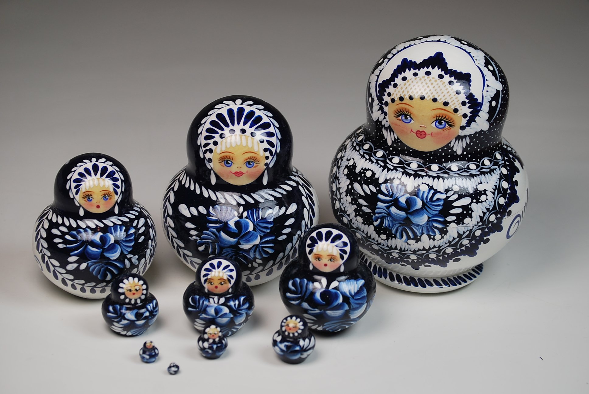 Unique Museum Quality Artist Signed Russian Hand Painted Nesting Dolls Set of 10 pcs Christmas Gift by Gabriella's Gifts (Image #5)