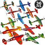 Bulk Glider Planes, (Pack of 36) 8 Inch Foam Flying Glider Plane, In Assorted Models And Styles, For Birthday Favors, Small Prize, Stocking Stuffers, For Kids