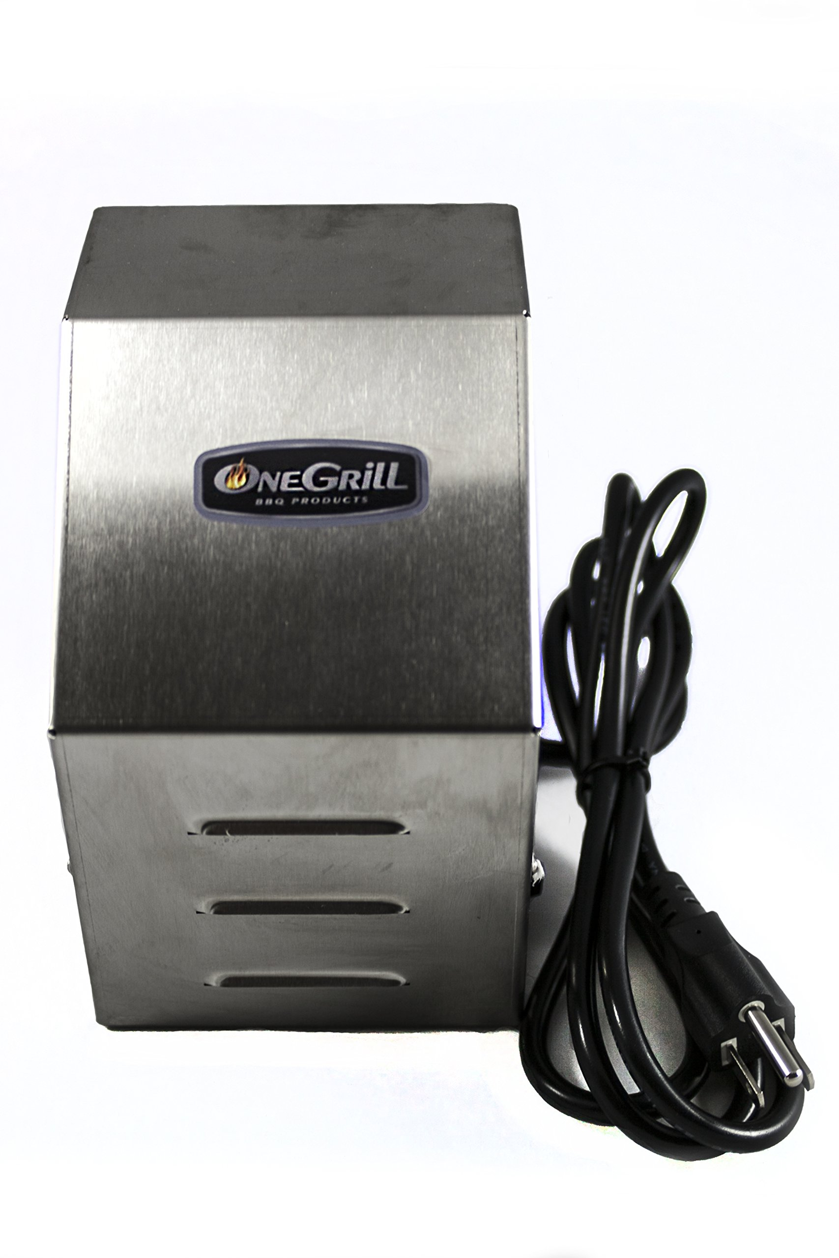 OneGrill 4PM08 Heavy Duty Stainless Steel Grill Rotisserie Motor - Electric 27 Watt 110/120 Volt - 200 in./lbs. Stall Torque - 5/16 Inch Square Drive - All Metal Commercial Grade Geartrain