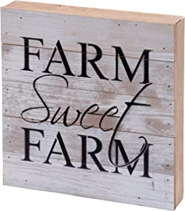 Second Nature By Hand 10x10 Inch Reclaimed Wood Art, Handcrafted Decorative Wall Plaque — Farm Sweet Farm