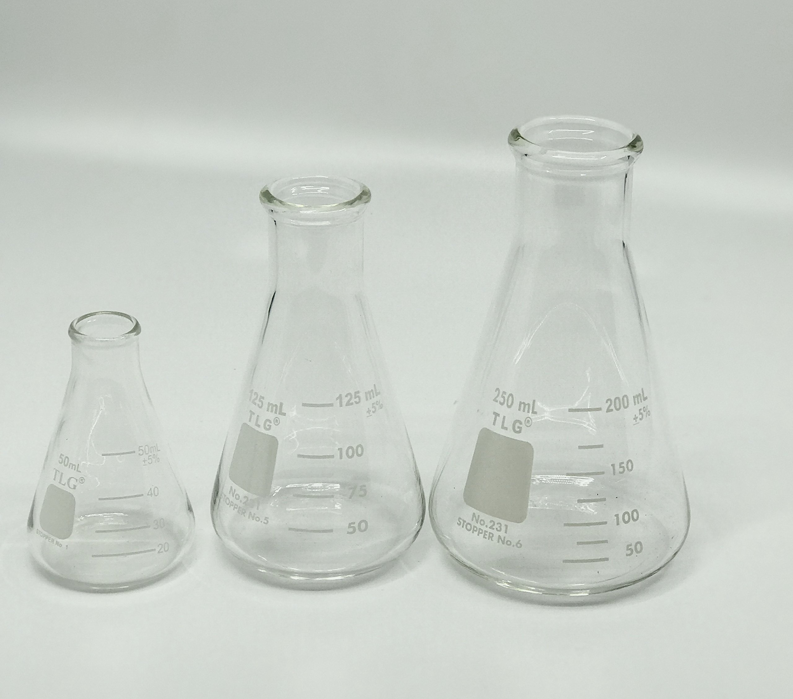 Chem Science INC 231.202.SE3 Erlenmeyer Flask Set, Narrow Neck with Graduation, 50, 125, 250 mL (Pack of 3)