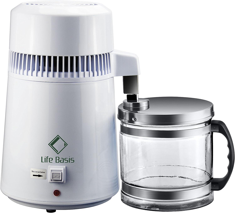 LifeBasis Distillateur deau 4L Machine deau Distill/ée avec Carafe en Verre Buse en Caoutchouc Corps en Acier avec Un Testeur TDS 750W