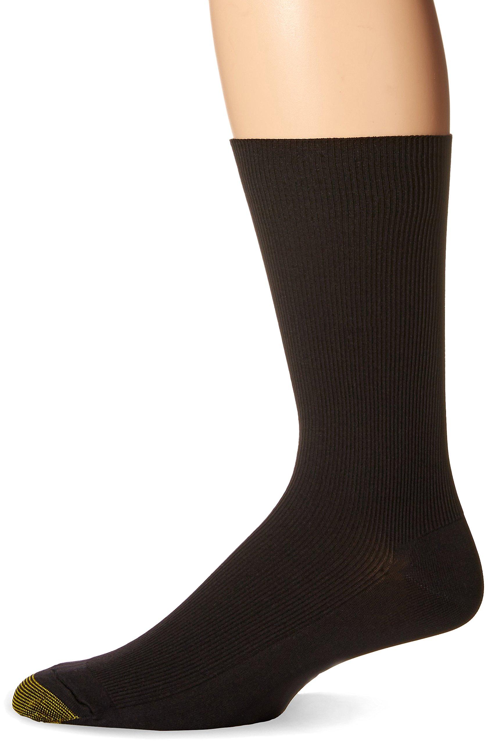 Gold Toe Men's Metropolitan Dress Sock, Black, 3-Pack Sock Size 10-13 by Gold Toe