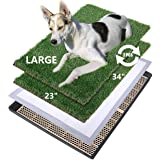 MEEXPAWS Large Dog Artificial Grass Litter Box Toilet with Tray | 34×23 inches|2 Sturdy Grass Replacement Set| Rapid Drainage