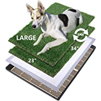 MEEXPAWS Large Dog Artificial Grass Litter Box Toilet with Tray | 34×23 inches|2 Sturdy Grass Replacement Set| Rapid…