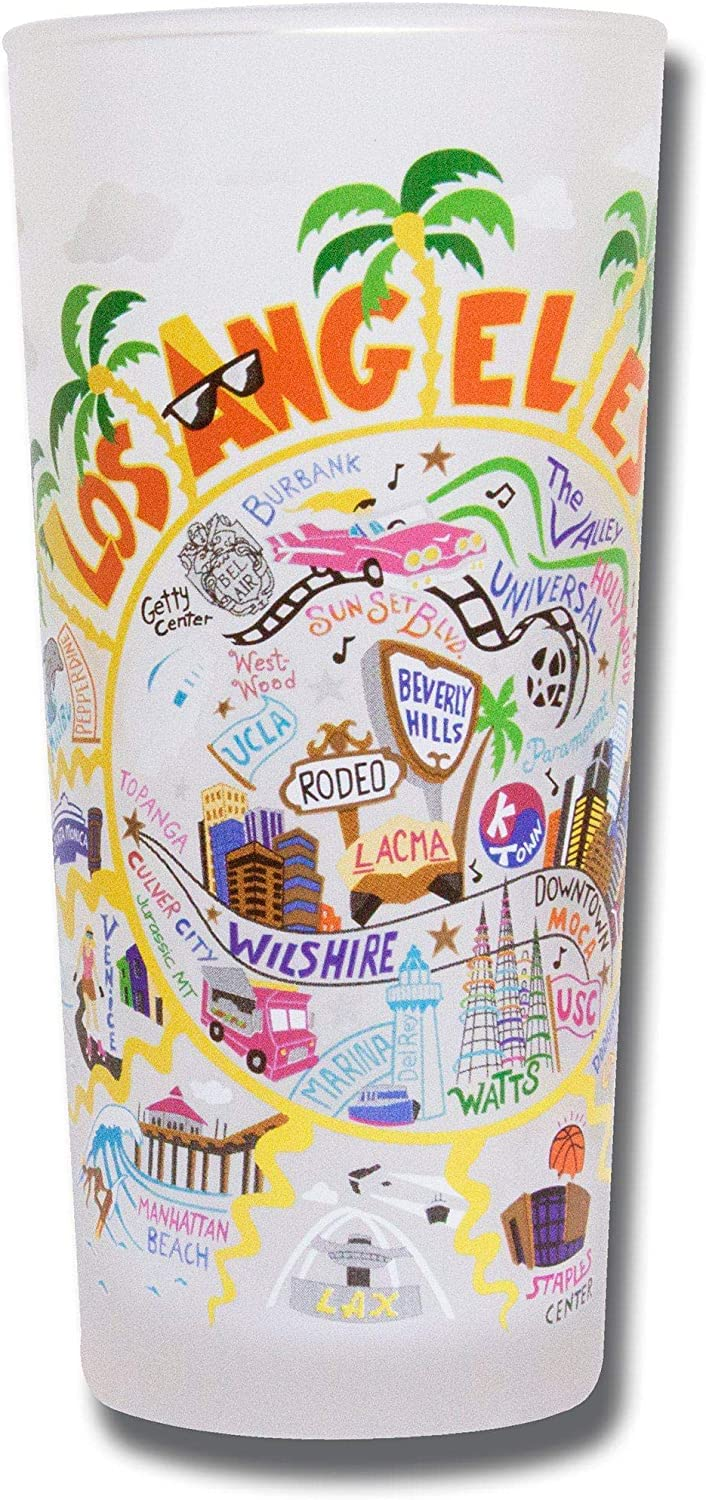 catstudio Los Angeles Drinking Glass | Geography Inspired Artwork Printed on a Frosted Cup