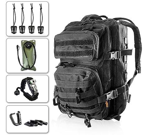 Kragzmen Tactical Backpack 3-Day Assault Pack w 2L Hydration Bladder   Para  Cord Survival Bracelet - 45 Liter Military Rucksack (Spec Ops Black) ... 97b8561c82892