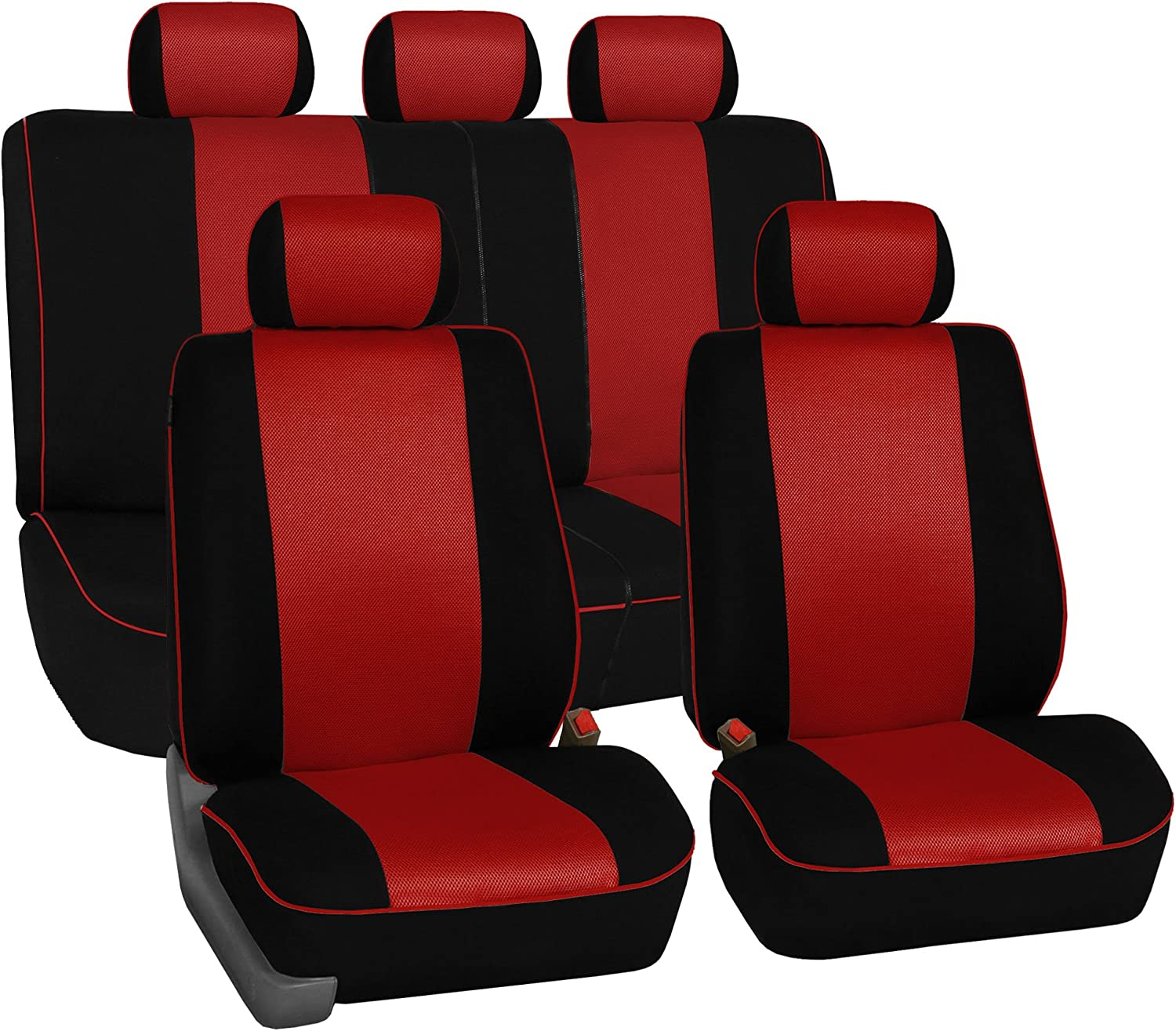 FH Group FB063115 Full Set Sports Fabric Car Seat Covers, Airbag Compatible and Split Bench Red/Black Color- Universal Car, Truck, SUV, or Van