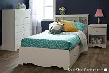 South Shore Crystal White Kids Twin Wood Captainu0027s Storage Bed 3 Piece  Bedroom Set