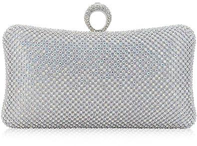 6f8d9a407deea Dexmay Ring Rhinestone Crystal Clutch Purse for Bridal Wedding Party Luxury  Women Evening Bag AB Silver