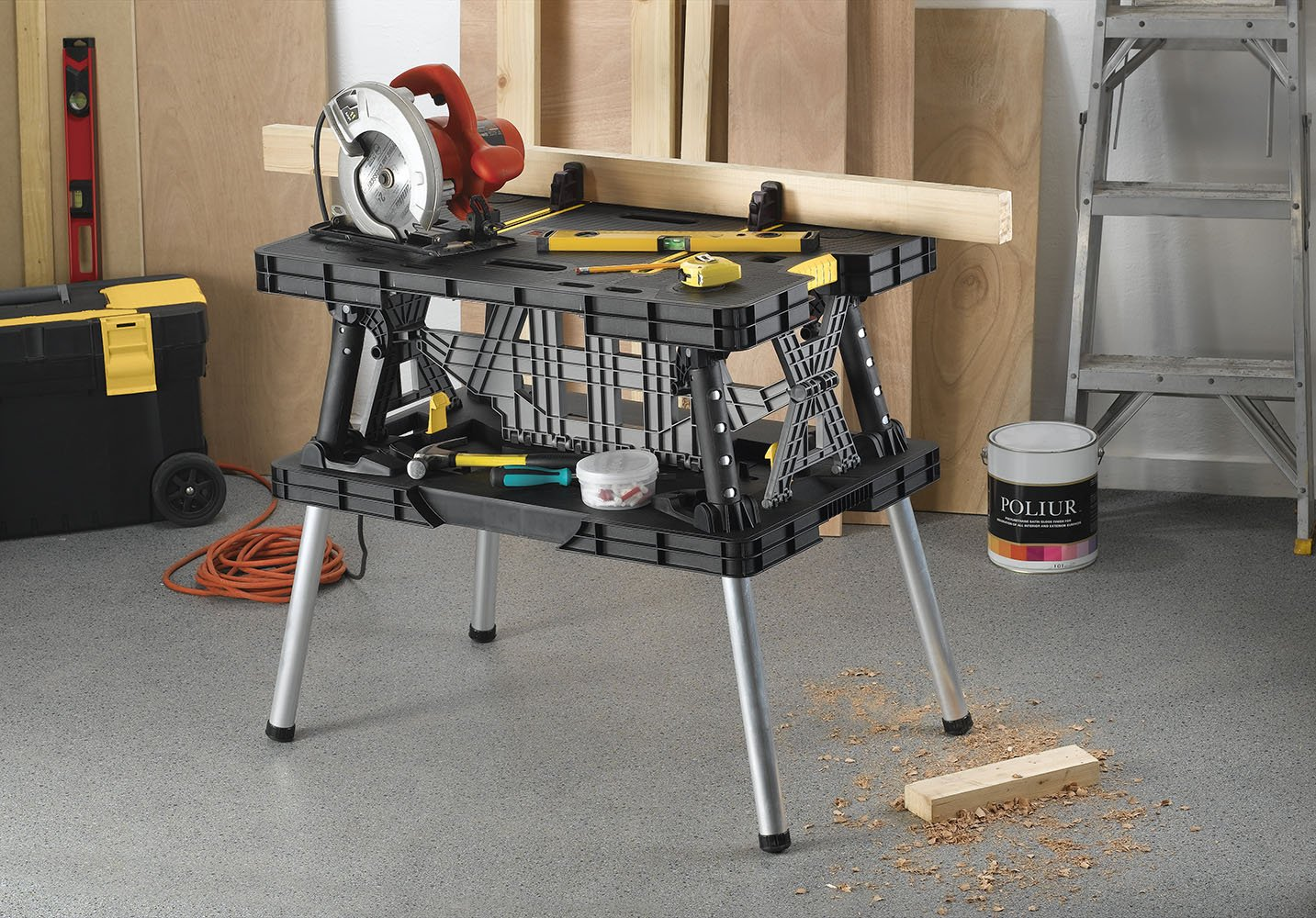 Keter Folding Table Work Bench For Woodworking Tools & Accessories with Clamps