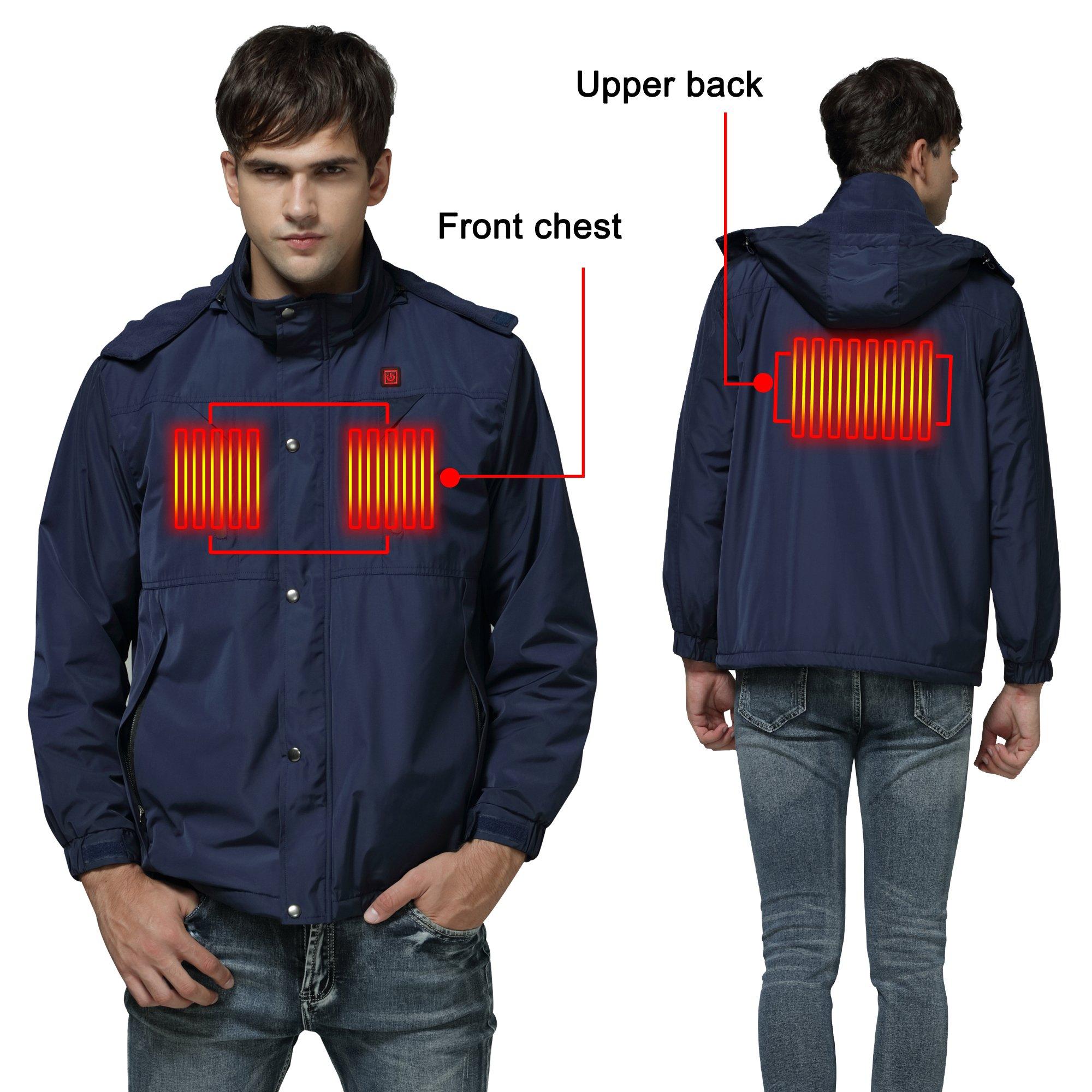 Autocastle Men's Electric Battery Heated Puffer Down Vests Gilet Hood Waistcoat (Jacket L, Navy)