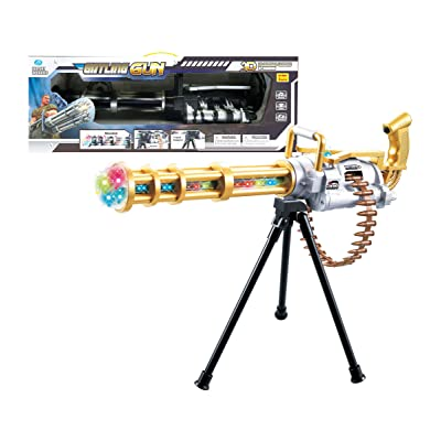 "Mozlly Light Up Gatling Revolving Gun, 23"" Includes Tripod w/ Flashing LEDs Shooting Sounds Rotating Shotgun Military Rifle for Kids - Pretend Play Dress Up Cosplay Costume Accessories, Colors Vary: Toys & Games [5Bkhe0904795]"